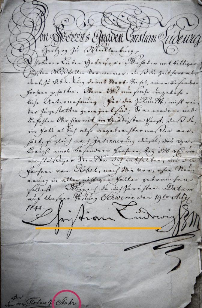 Brief der Herzoglichen Verwaltung nach Stuhr(!),19.8.1748, mit Unterschrift des Herzogs