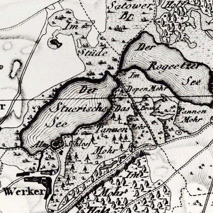 Karte, Schmettau,1788, (Stüde=Gebüsch, Brandmoor=Hinweis für Brandrodung für kurzzeitig mögliche Nutzung)