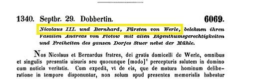 Belehnung Stuer, Werle-Flotow, 1340,MUB 6069
