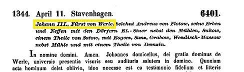 Belehnung Stuer, Werle-Flotow,1344