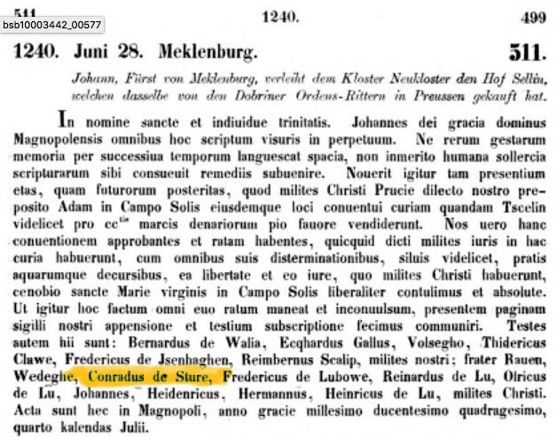 Mecklenburgisches Urkundenbuch Nr.511, 1240