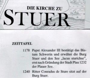 Flyer zur Kirche in Stuer, Detail mit angenommenen Geschichtsdaten