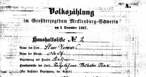 Volkszählung 1867 Stuer-Vorwerk Katen 2 Haushalt Jens