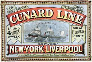 Cunard Line, New York-Liverpool, 1875