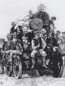Auswandererwagen zum Hafen, 19. Jh.