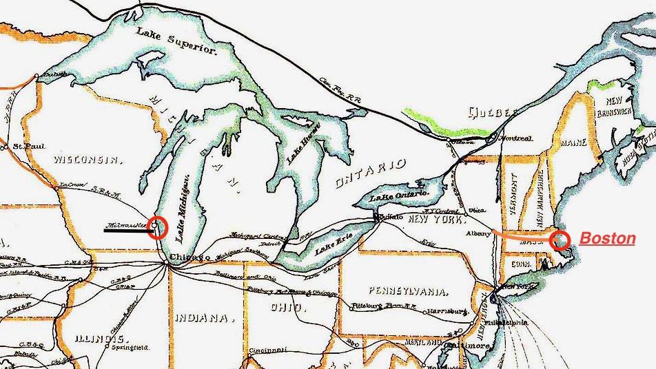 Eisenbahnnetz um 1870 im NO der USA