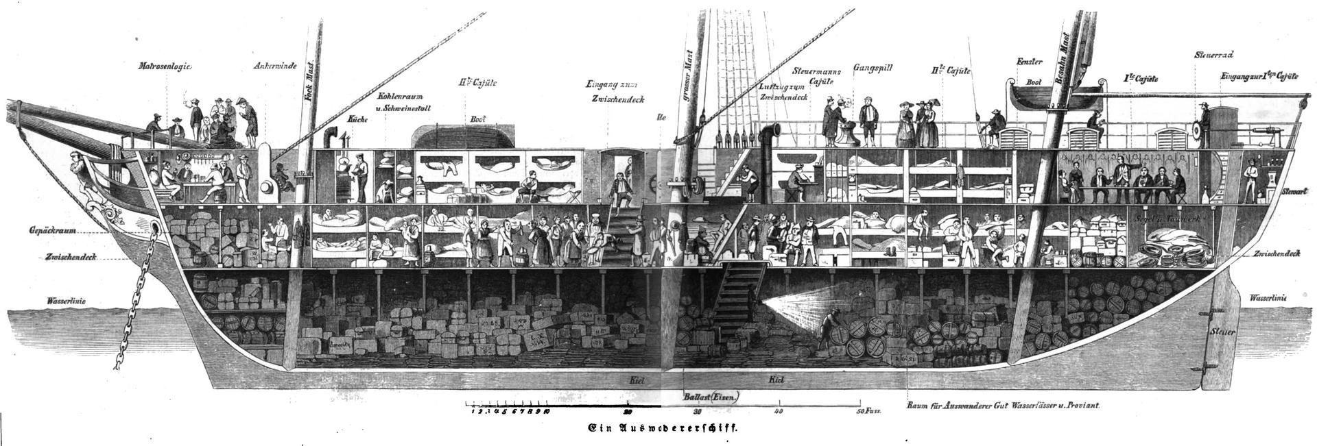 Auswandererschiff, in: Die Gartenlaube, 1854