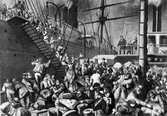 German emigrants boarding1850 a ship in Hamburg