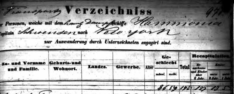 "Kopfzeile Passagierliste Dampfschiff ""Hammonia "",31.10.1857"