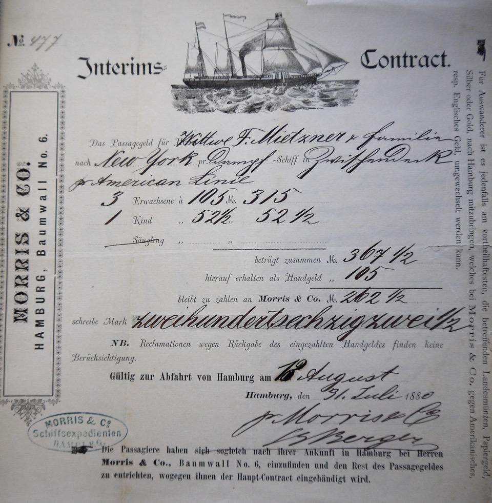 Auswandererreise-Vertrag einer Agentur in Röbel, 1880