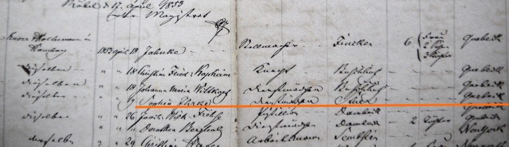 Registratur von Ausreisevertägen mit Agenturen in Röbel, 1853