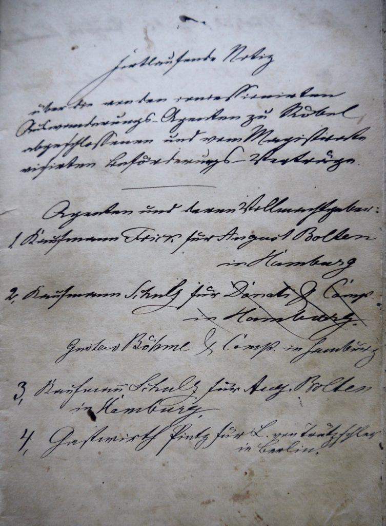Registrierte Auswanderagenturen Röbel 1860/70er Jahre