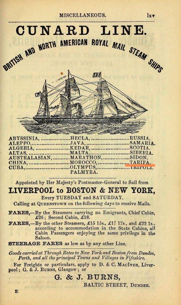 Cunard Line, u.a. Tarifa
