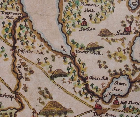 Atlas Hoinkhusen,1700,Ausschnitt, Mühlen Stuer