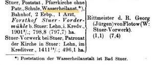 Mecklenburgischer Staatskalender 1908, Ausschnitt, v. Flotow, Stuer