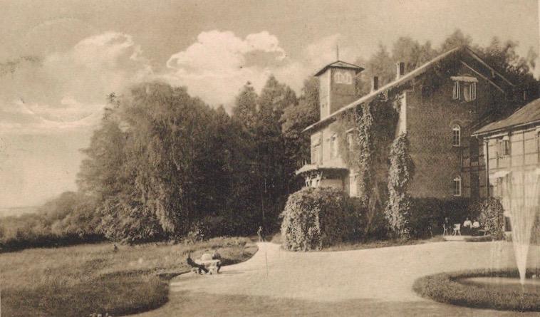 Kurhaus, Wasserheilanstalt Bad Stuer, Postkarte um 1900, Terasse