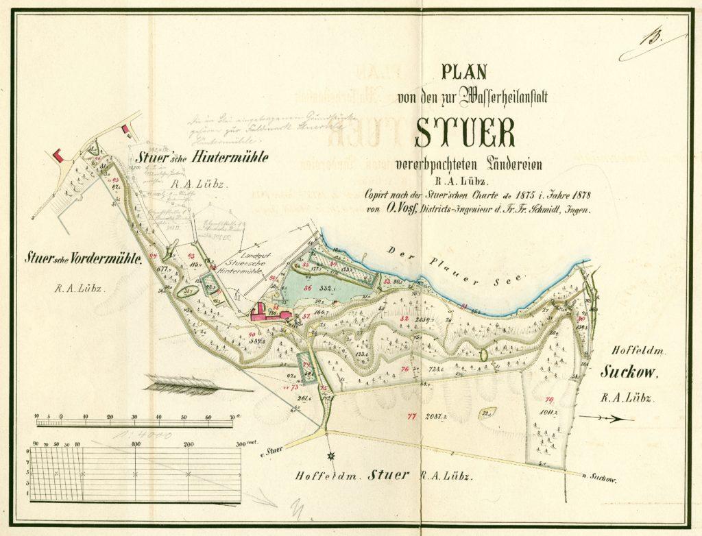 Plan von demjenigen Theile des Gutes Stuer welcher zur Stuerschen Hinter Mühle gelegt ist. Aus der Directorial Karte von Stuer extrahiert, 1835, LHA SN 5.12-9/9, Nr. 4039b