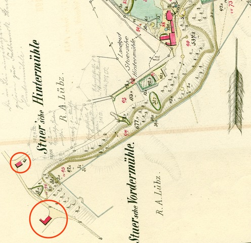 Plan von den zur Wasserheilanstalt Stuer vererbpachteten Ländereien, kopiert nach der Stuerschen Charte de 1875 i. Jahre 1878, LHA SN 5.12-9/9, Nr.4039a