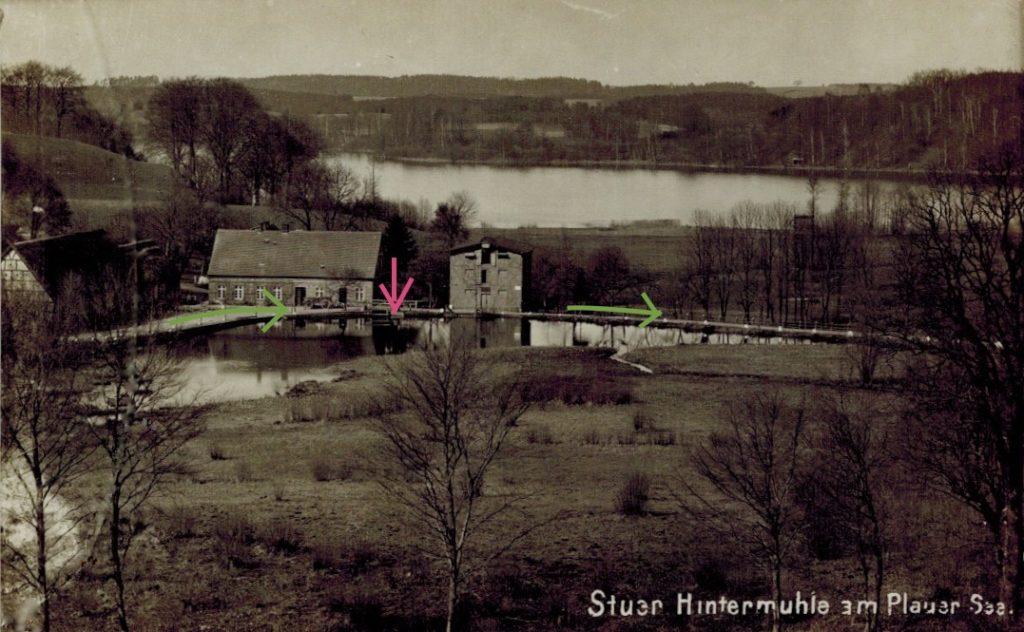 Stuersche Korn-Hintermühle, Postkarte um 1910, Nühlrad und Wegeführung