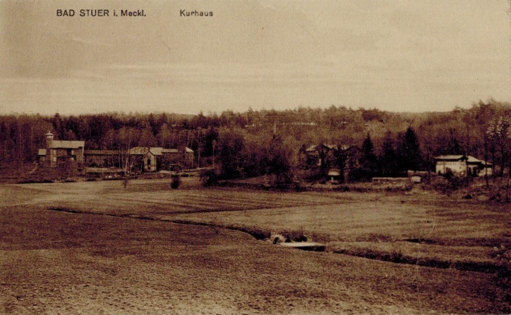 Bad Stuer, Wasserheilanstalt, Badehäuser u. Parkvilla, Postkarte um 1900