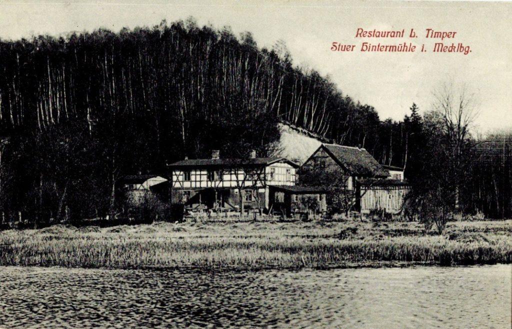 Schankwirtschaft Timpert, Stuer Hintermühle, Postkarte um 1900