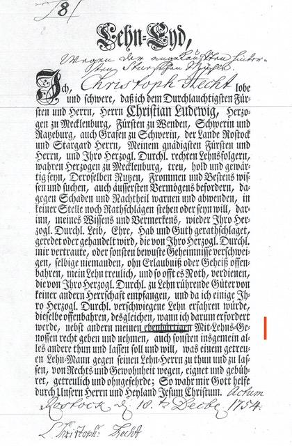 Lehneid Erbmüller Hecht,Stuer,1754