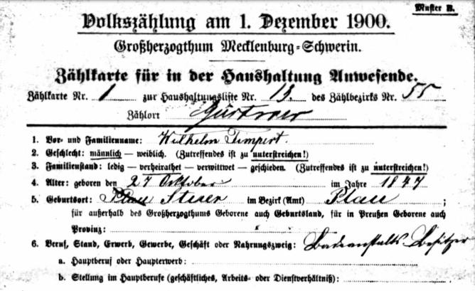 Zensus 1900, Stuer-Hintermühle, Gastwirt Timpert, LHA SN, Detail