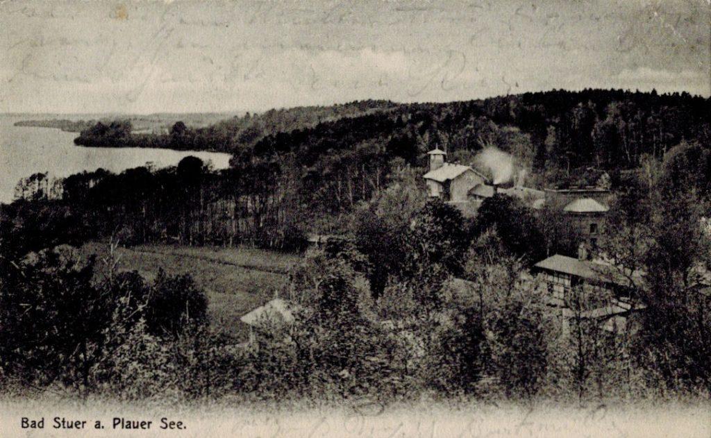 Wasserheilanstalt Bad Stuer, Postkarte um 1900, gelaufen 1905