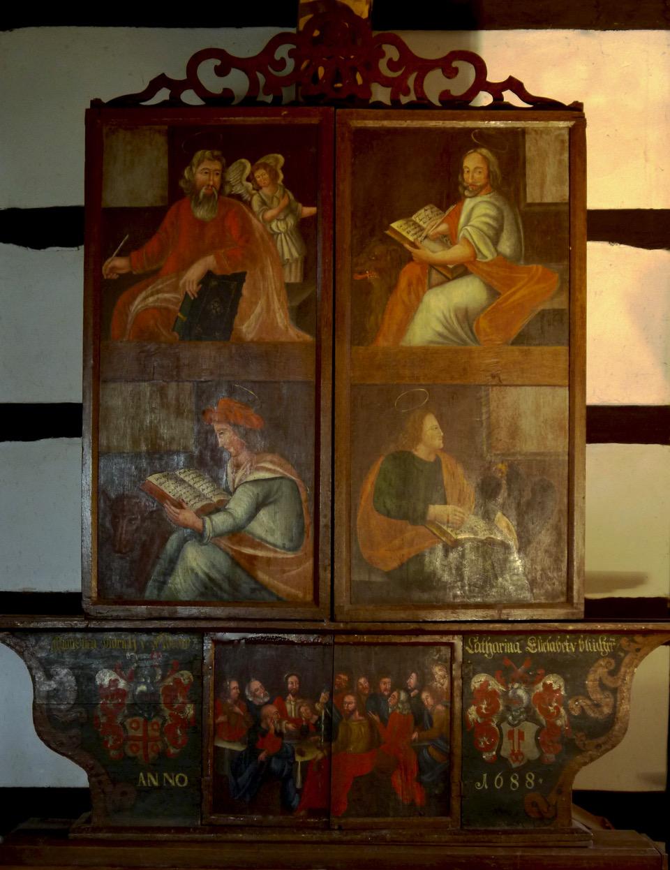 Altartafel Stuer in zugeklapptem Zustand, 4 Evangelisten u. Abendmal, 1688, barocke Fassung