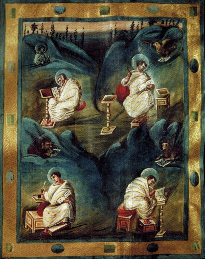 4 Evangelisten, Evangeliar um 800, Aachen