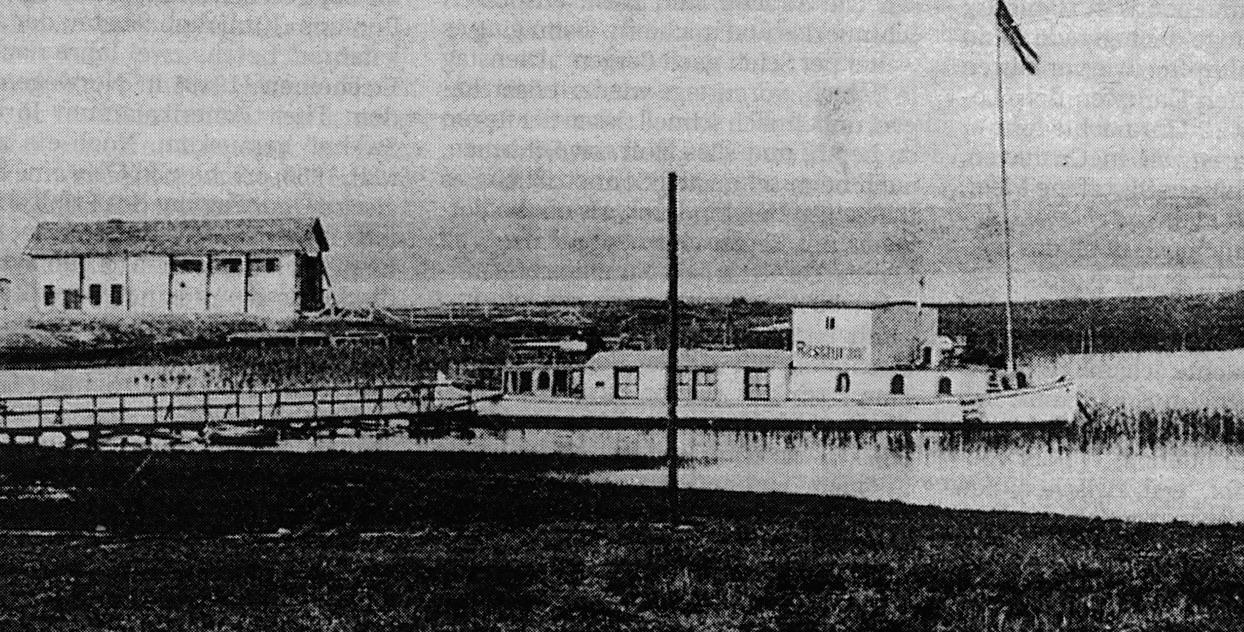 """Restaurantschiff """"Zur Kajütte"""" und Parseval-Fliegerhalle,1910,Plauer See, am """"Zuruf"""", Mecklenburg Magazin 2/1998, S.11"""