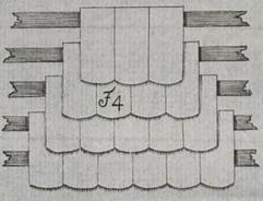 Biberschwanz, Verlegeart Doppeldeckung, aus: Behrens, 1796, Tafel 35