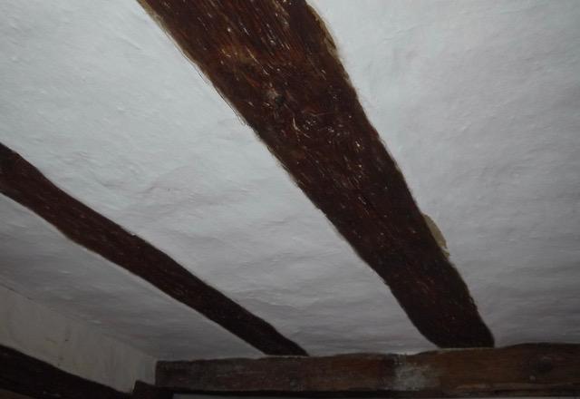 ehmverputzte Decke, Originalzustand, Wohn-Stall-Haus eines Erbpachtbauern von 1832 in Stuer/ Mecklenburg