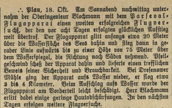 Ende der Flugversuche am Plauer See, 1910, Malchower Tageblatt