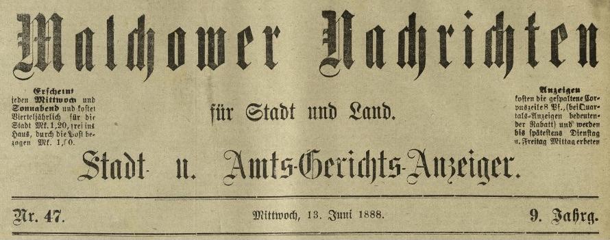 Malchower Nachrichten,13.6.1888