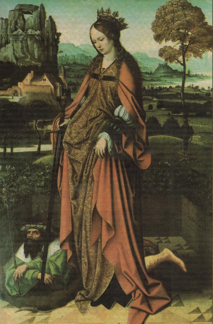 Hochaltar, Pfarrkirche Güstrow, Flügel,Katharina von Alexandrien als Siegerin