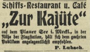 Restaurantschiff- Reklame, 1910