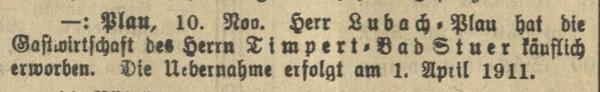 Gastwirt Lubach wechselt vom Restaurantschiff auf der Plauer Seeseite nach Bad Stuer (Malchower Tageblatt), 1910