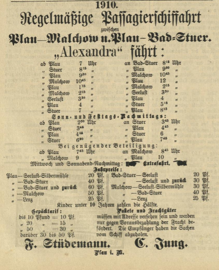 Passagierverkehr auf dem Plauer See in der Saison 1910,Malchower Tageblatt,14.5.1910