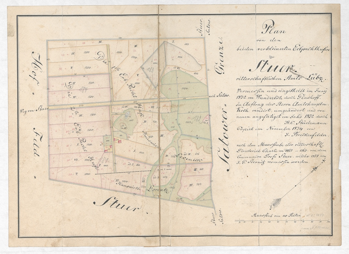 Plan von den beiden verkleinerten Erbpachthufen zu Stuer von 1832, kopiert 1854