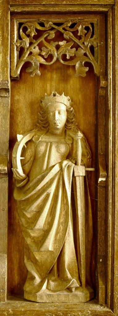 Flügelretabel, Stuer, spätmittelalterlich,Katharina von Alexandrien,Schreinnische