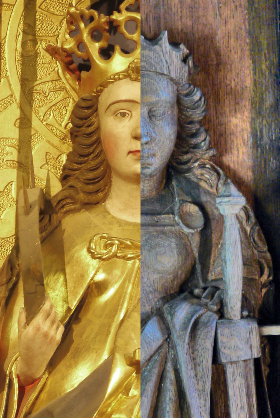 Heilige Katharina von Alexandrien im Dom von Güstrow mit Farbfassung von 1868 montiert mit der Katharina in Stuer, deren Fassung 1688 abgenommen wurde